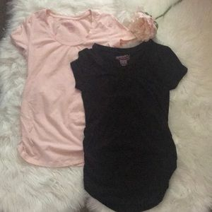 2 Maternity Short Sleeve Tees XS and S